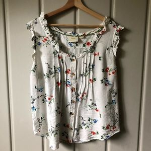 MAEVE | White Floral Button Down Sleeveless Top 14